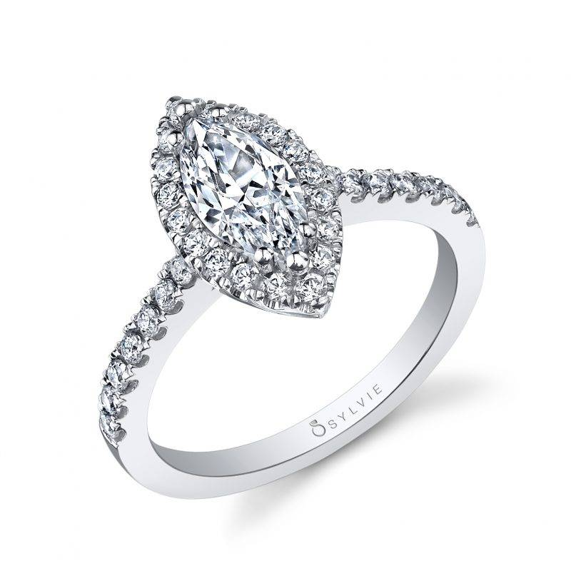 Lucie - Marquise Shaped Halo Engagement Ring