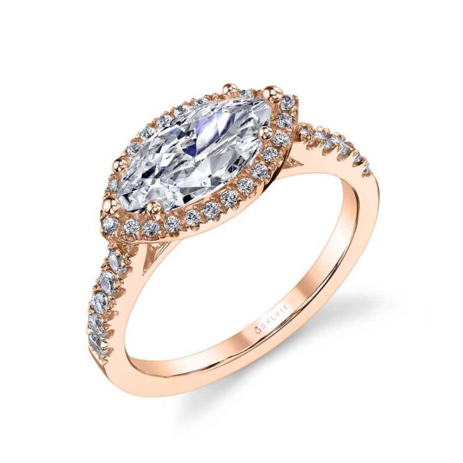 East West Marquise Engagement Ring with Halo