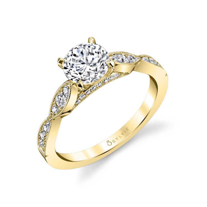 Stackable Engagement Ring S1404-YG–Sylvie