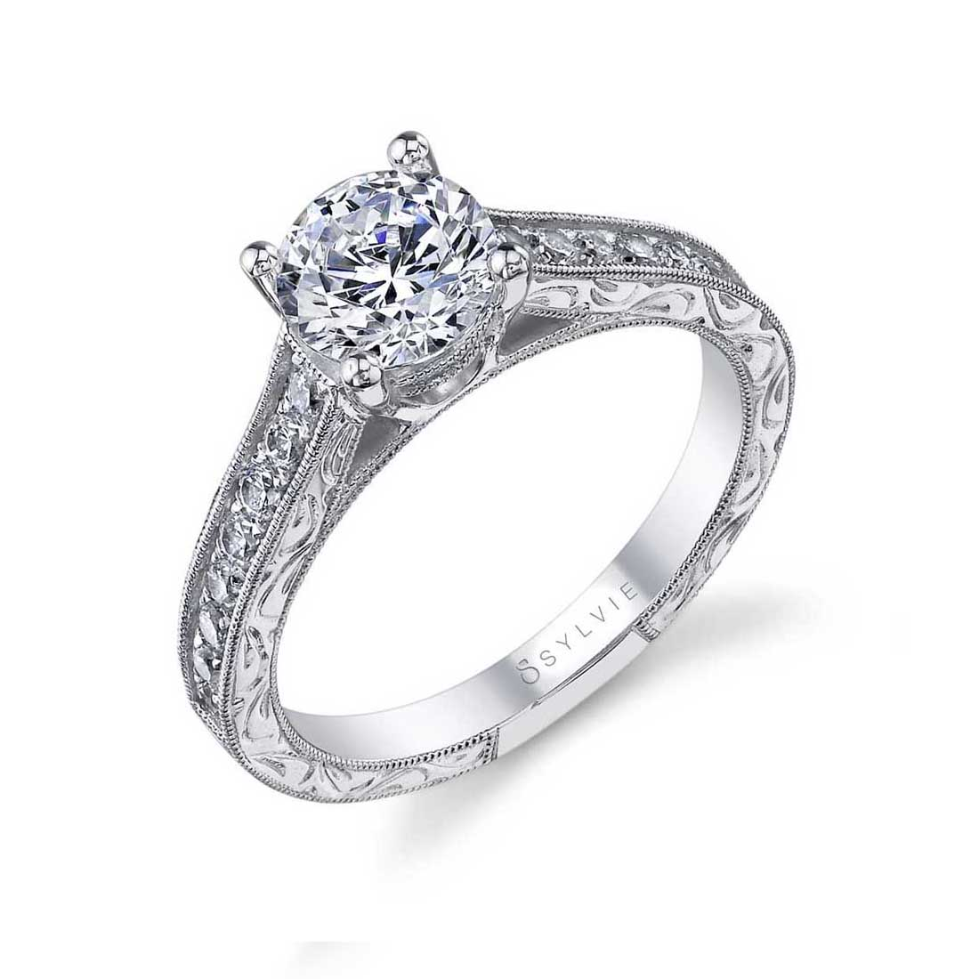 Vintage Hand Engraved Engagement Ring SY986–Sylvie