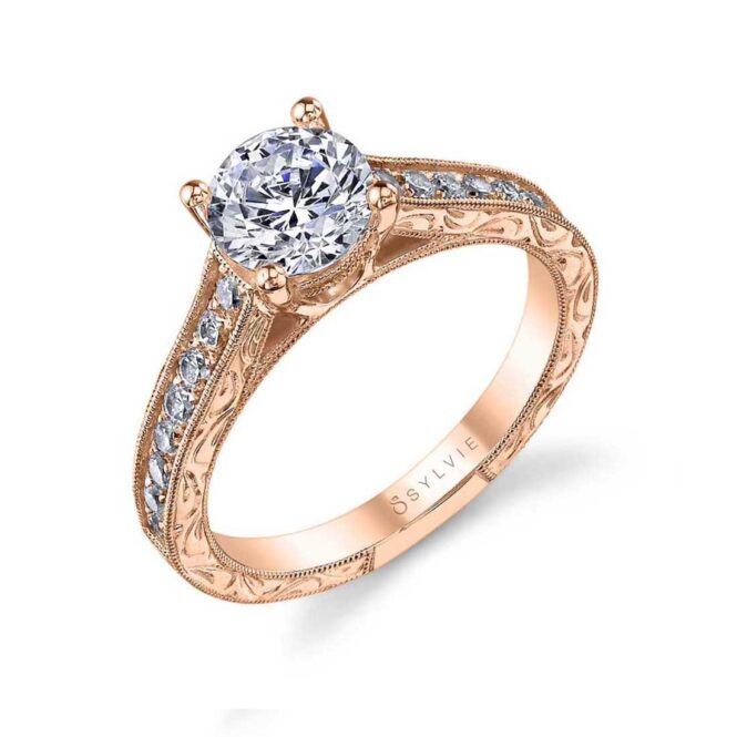 Vintage Hand Engraved Engagement Ring SY986-RG–Sylvie