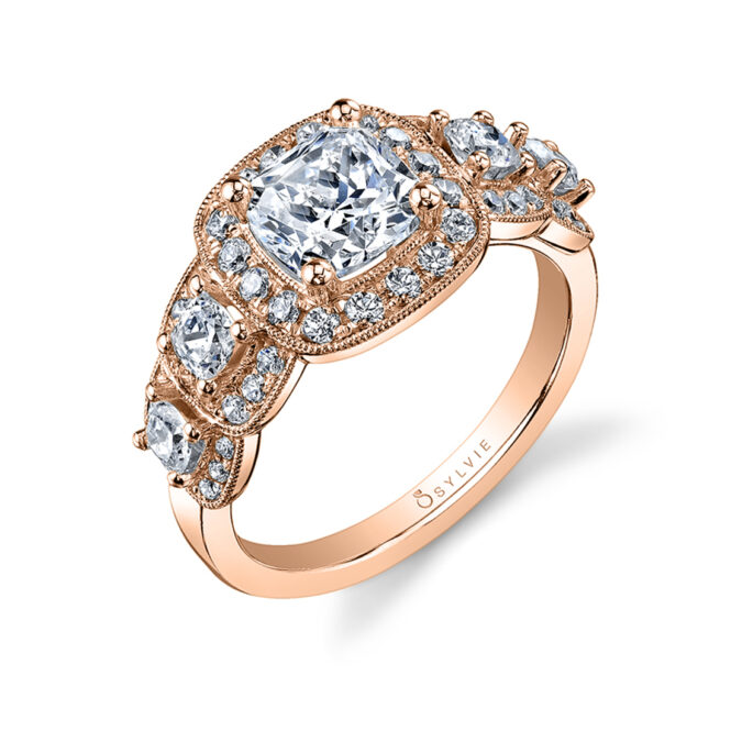 Vintage Inspired 5 Stone Engagement Ring