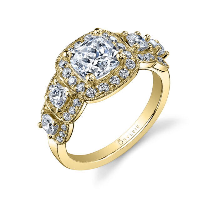 Vintage Inspired 5 Stone Engagement Ring - Sylvie