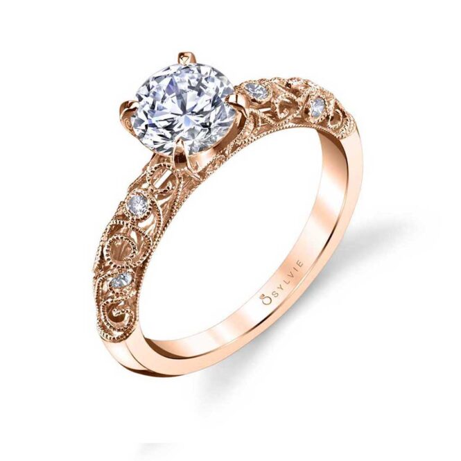 Vintage Inspired Solitaire Engagement Ring S1501–RG-Sylvie