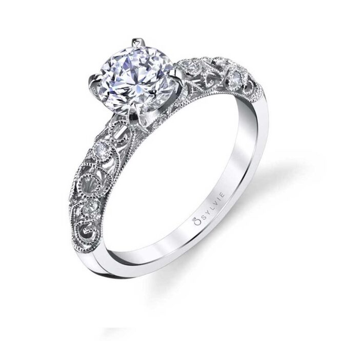 Vintage Inspired Solitaire Engagement Ring S1501–Sylvie