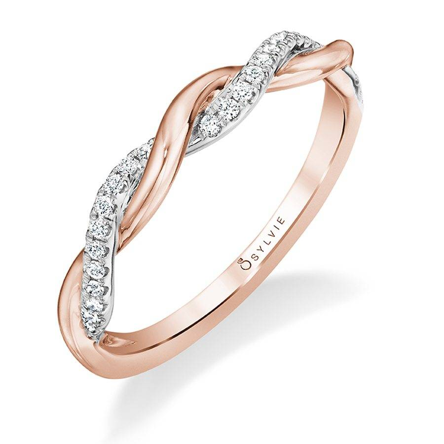 Gabrielle - Rose Gold & Diamond Stackable Wedding Band