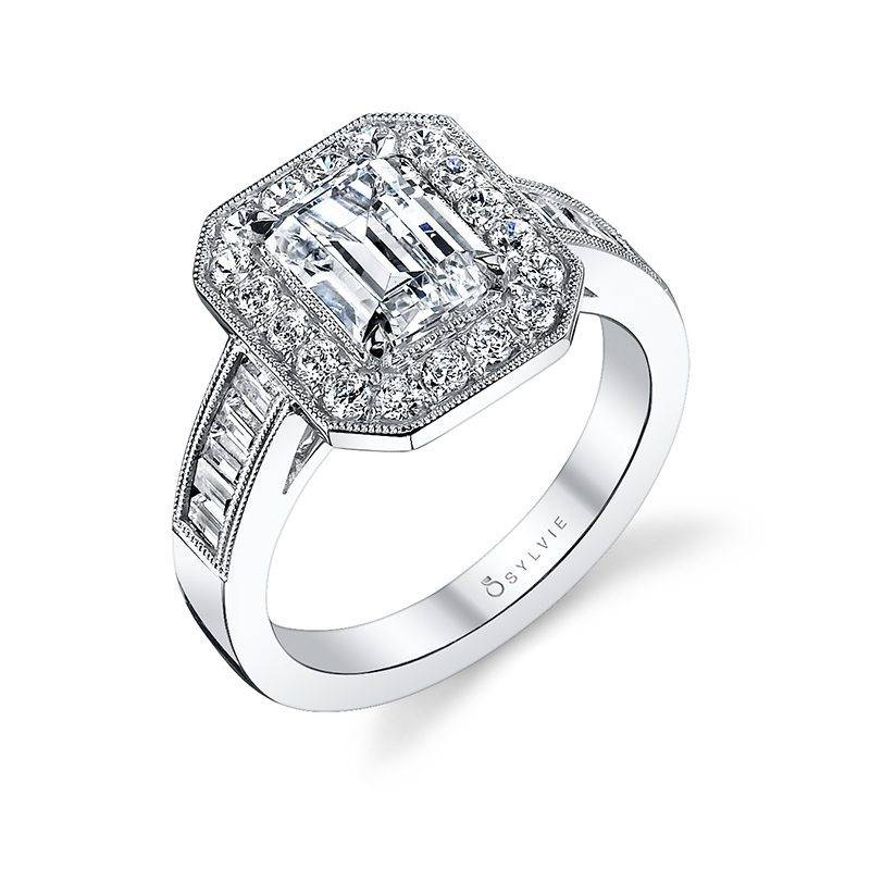 Adele - vintage inspired emerald cut halo engagement ring