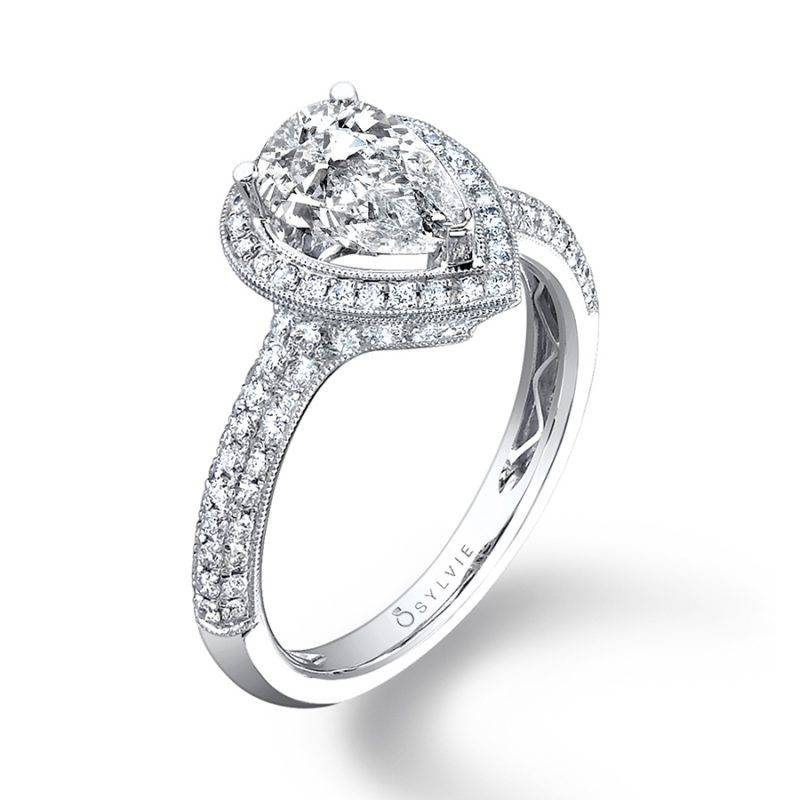 Astride - Pear Shaped Engagement Ring with Halo