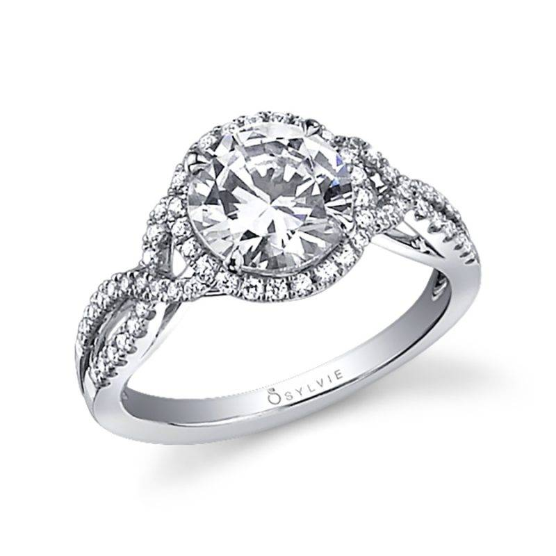 Jeanne - Spiral Engagement Ring with Halo