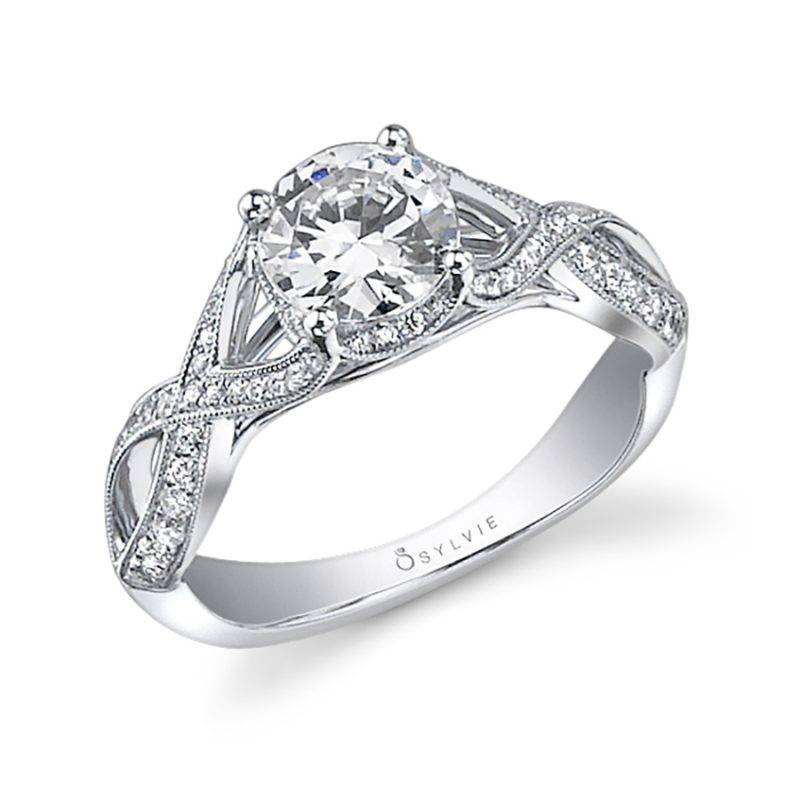 Christelle - Spiral Engagement Ring with Halo