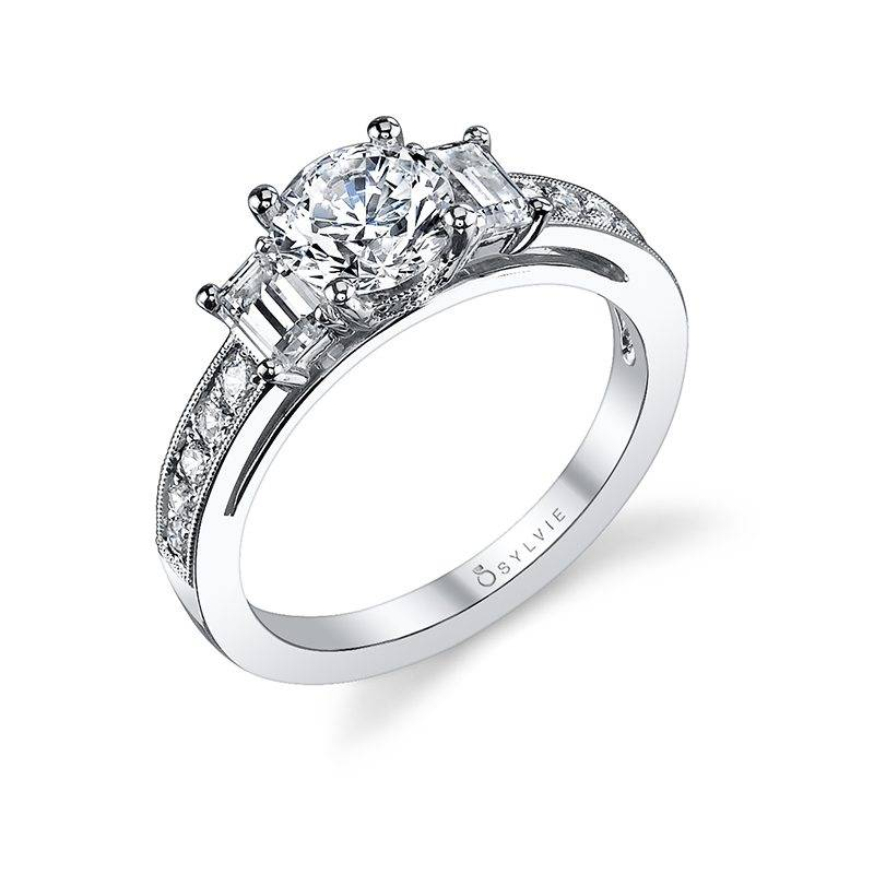 Kathia Modern Three Stone Engagement Ring Sylvie