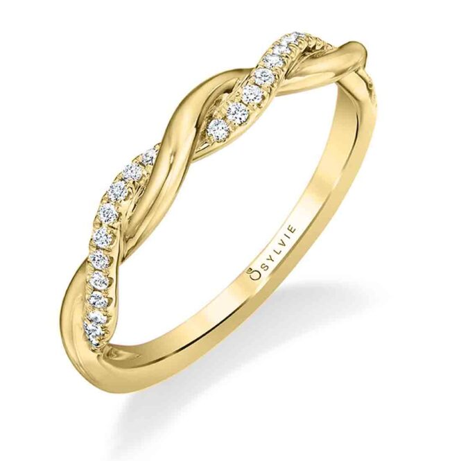 Modern Spiral Wedding Band BS1524 in Yellow Gold