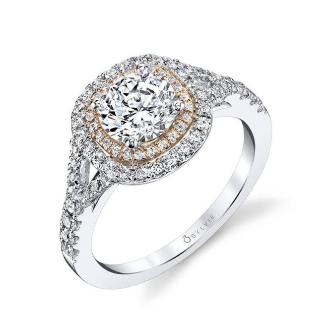 Carmelle – Cushion Shaped Double Halo Engagement Ring with Twone Accents