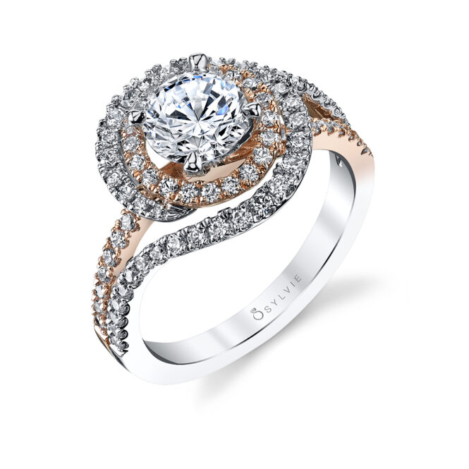 Unique Double Halo Engagement Ring-S1121-TT-RG
