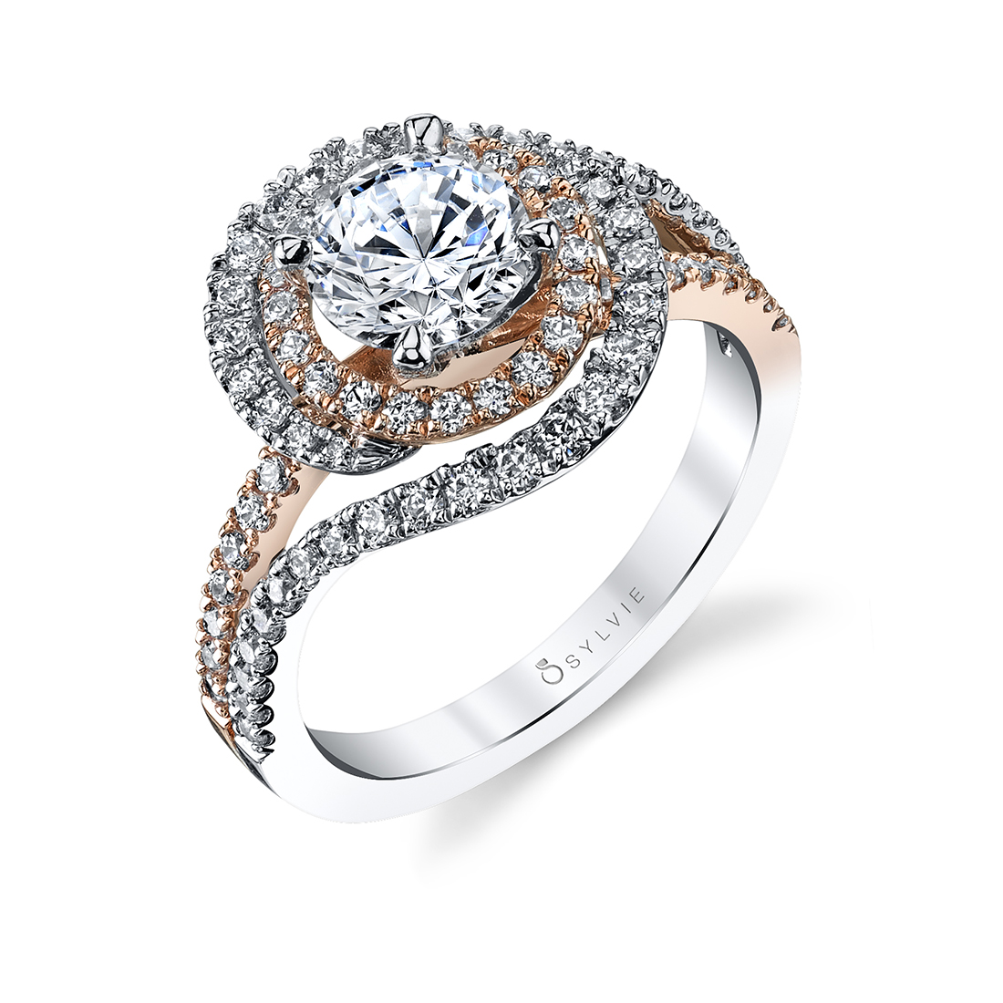 Unique Double Halo Engagement Ring