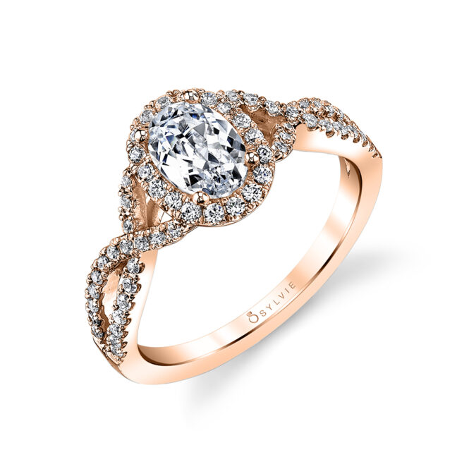Oval Shaped Spiral Engagement Ring SY260-OV-RG