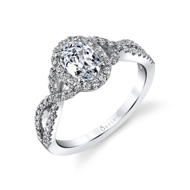 Oval Shaped Spiral Engagement Ring SY260-OV
