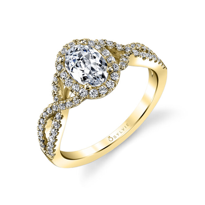Oval Shaped Spiral Engagement Ring SY260-OV-YG