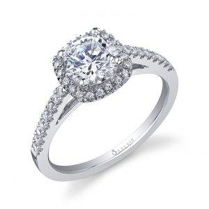 Clodine – Classic Cushion Halo Engagement Ring