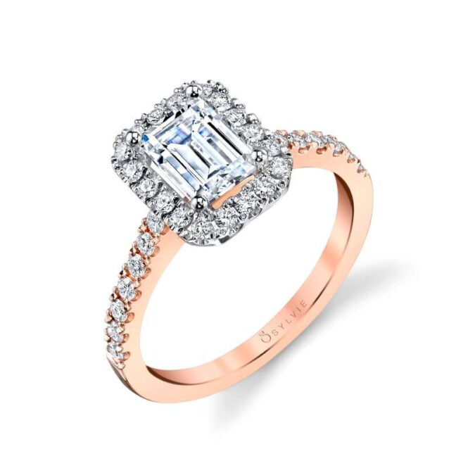 Adrienne – Emerald Cut Engagement Ring with Halo