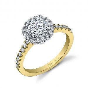 Profile of a Halo Engagement Ring in White Gold