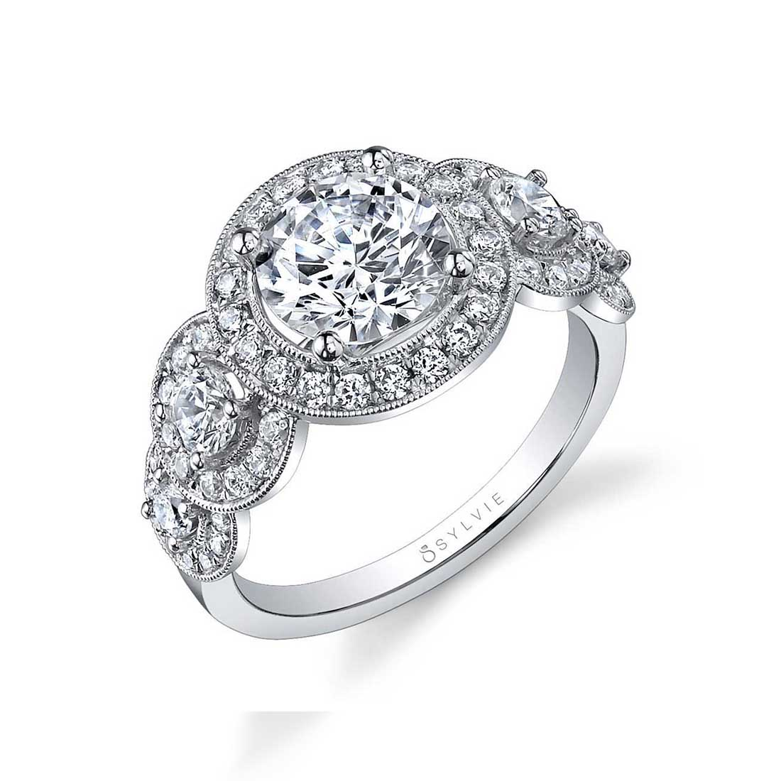 Side view of Vintage Inspired 5 Stone Engagement Ring-SY878S-RB