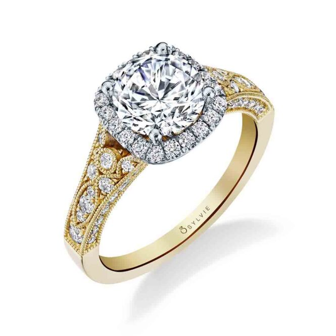 Vintage Inspired Twone Halo Engagement Ring