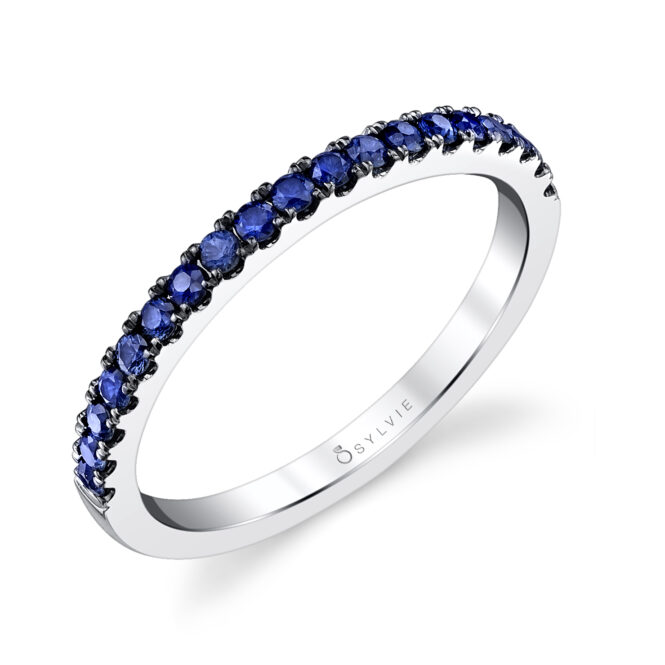 Blue sapphire wedding band by Sylvie