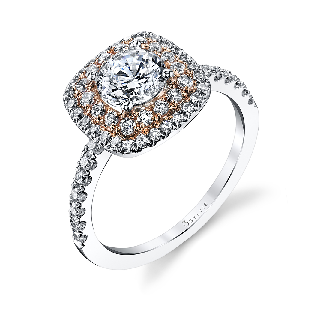 Double Halo Engagement Ring S1097-TT