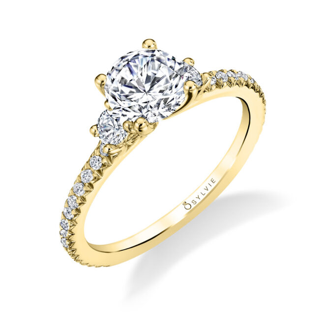 3 Stone Engagement Ring S1702-YG
