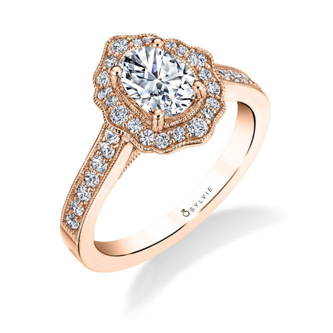Floral Inspired Engagement Ring S1727-OV-RG