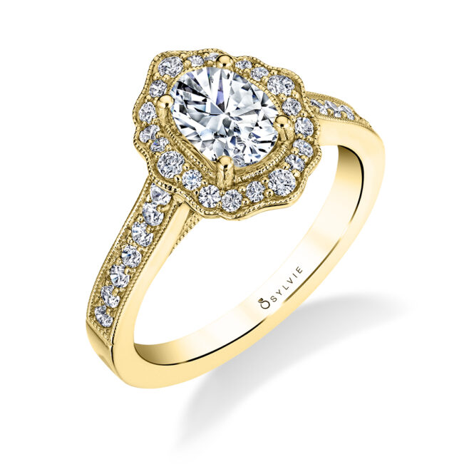 Floral Inspired Engagement Ring S1727-OV-YG