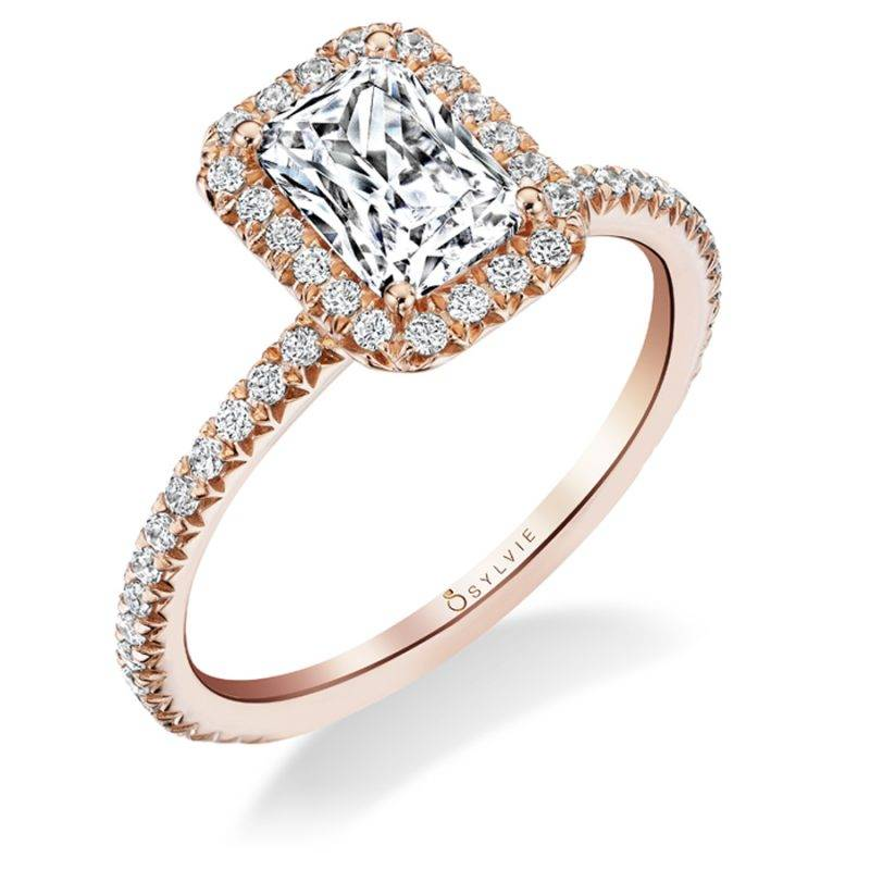 Rose - Cushion Shaped Double Halo Engagement Ring with Two-Tone Accents