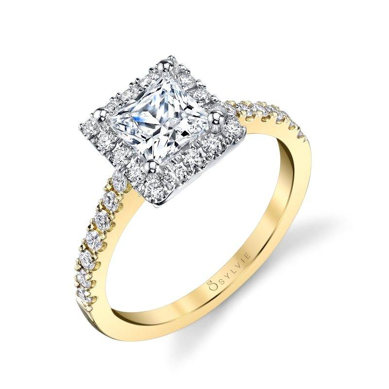 Two Tone Princess Cut Halo Engagement Ring