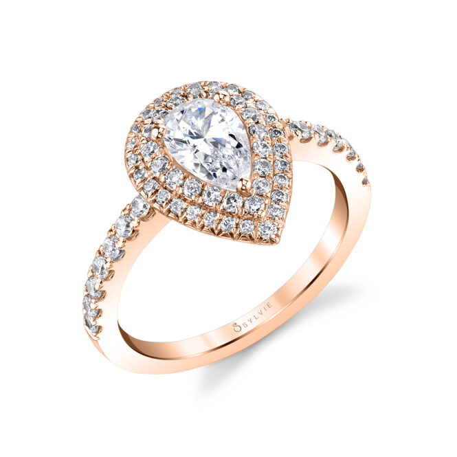 Pear Shaped Double Halo Engagement Ring lvie