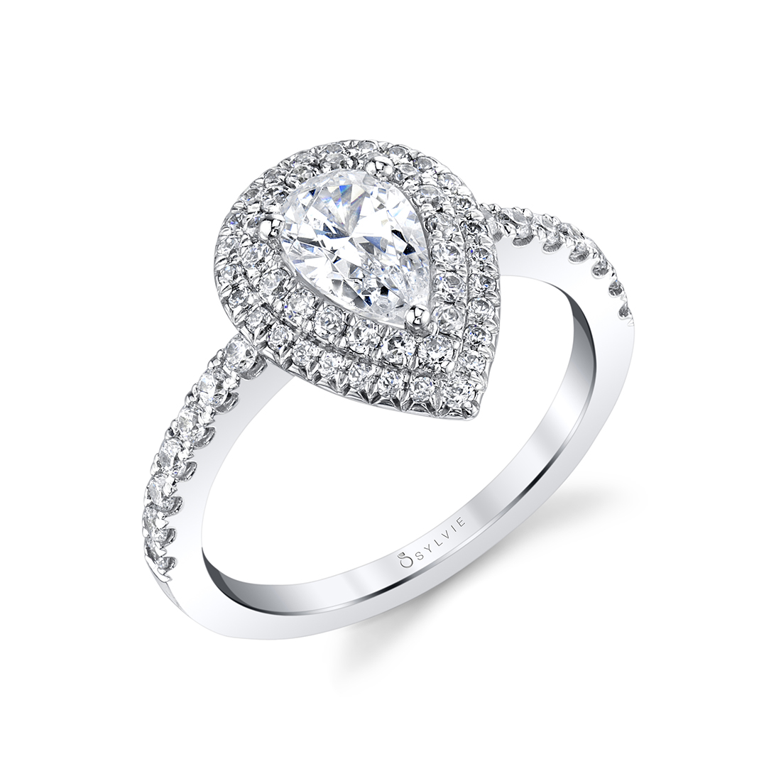 Pear Shaped Double Halo Engagement Ring S1086-PS-Sylvie