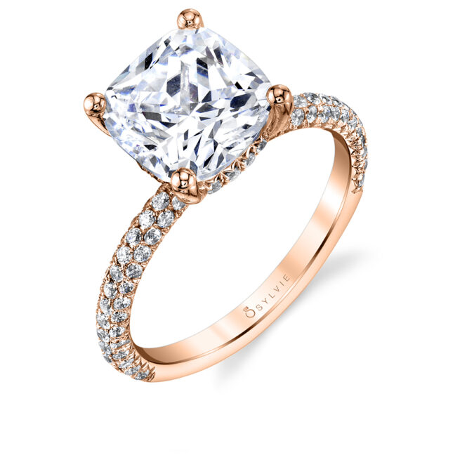 Pave solitaire engagement ring S1633-CU-RG-Sylvie