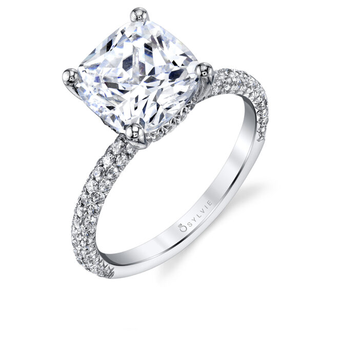 Pave solitaire engagement ring S1633-CU-Sylvie