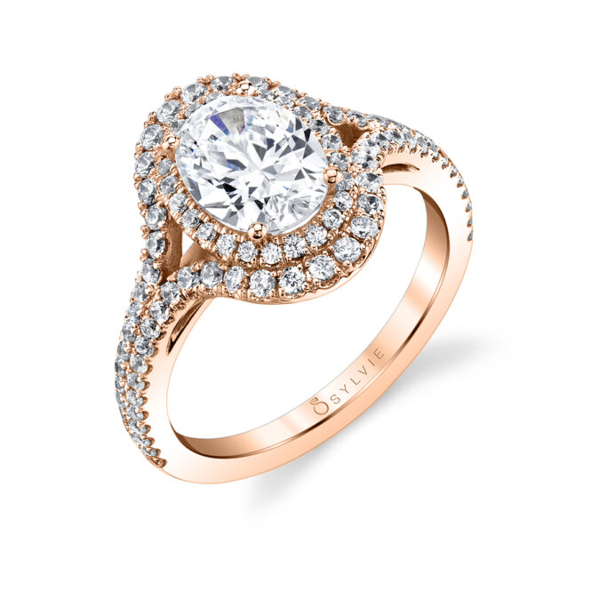 oval shaped double halo engagement ring S1879-RG