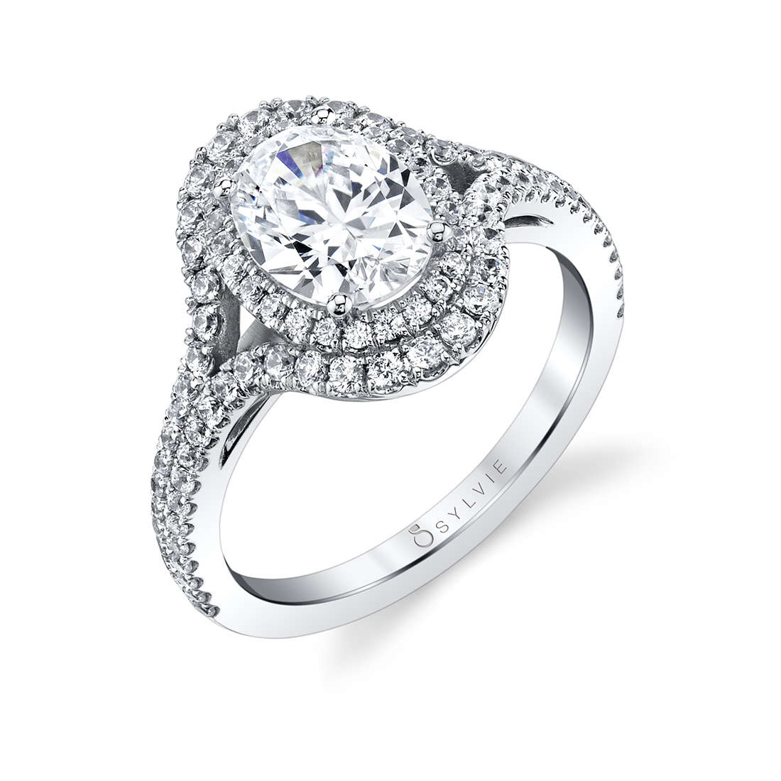 oval shaped double halo engagement ring-S1879