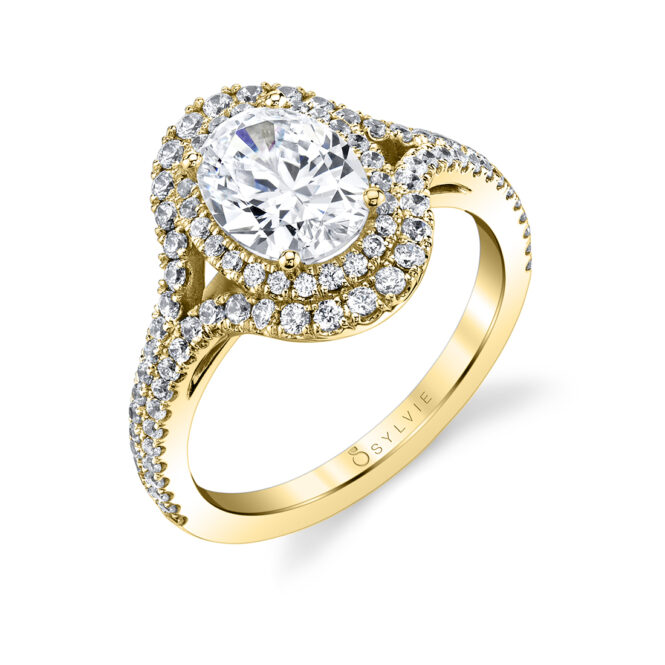oval shaped double halo engagement ring S1879-YG