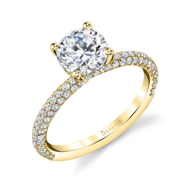 Solitaire Engagement Ring-S1633-RB-YG-Sylvie