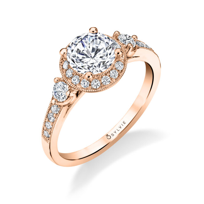 Three Stone Engagement Ring with Halo S1586-RG