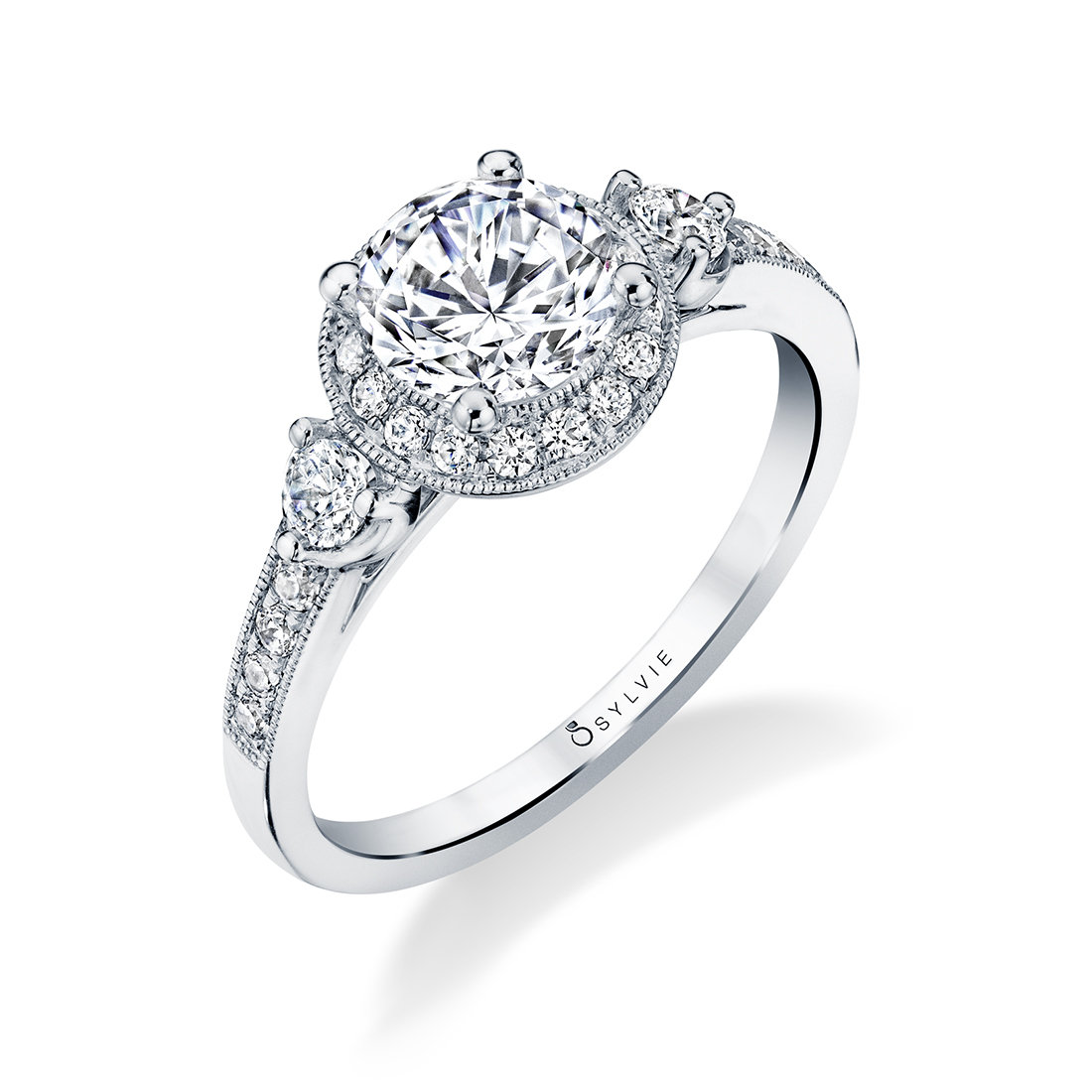 Three Stone Engagement Ring with Halo-S1586