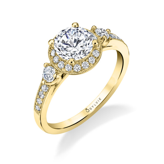Three Stone Engagement Ring with Halo S1586-YG