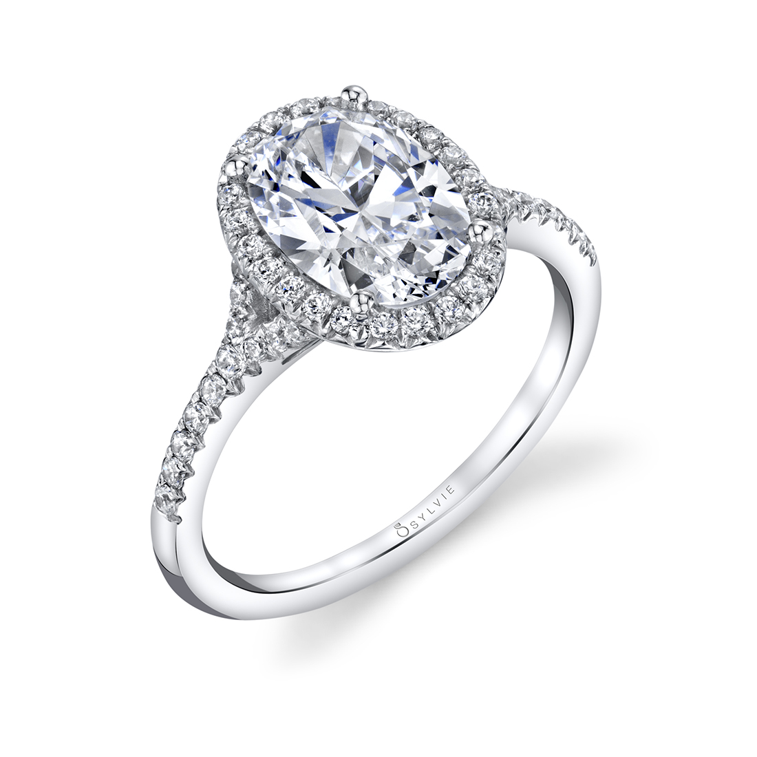 Oval Engagement Ring with Halo-S1814