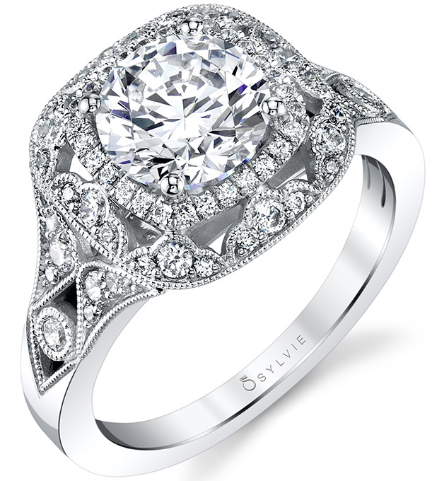 vintage double halo engagement rings
