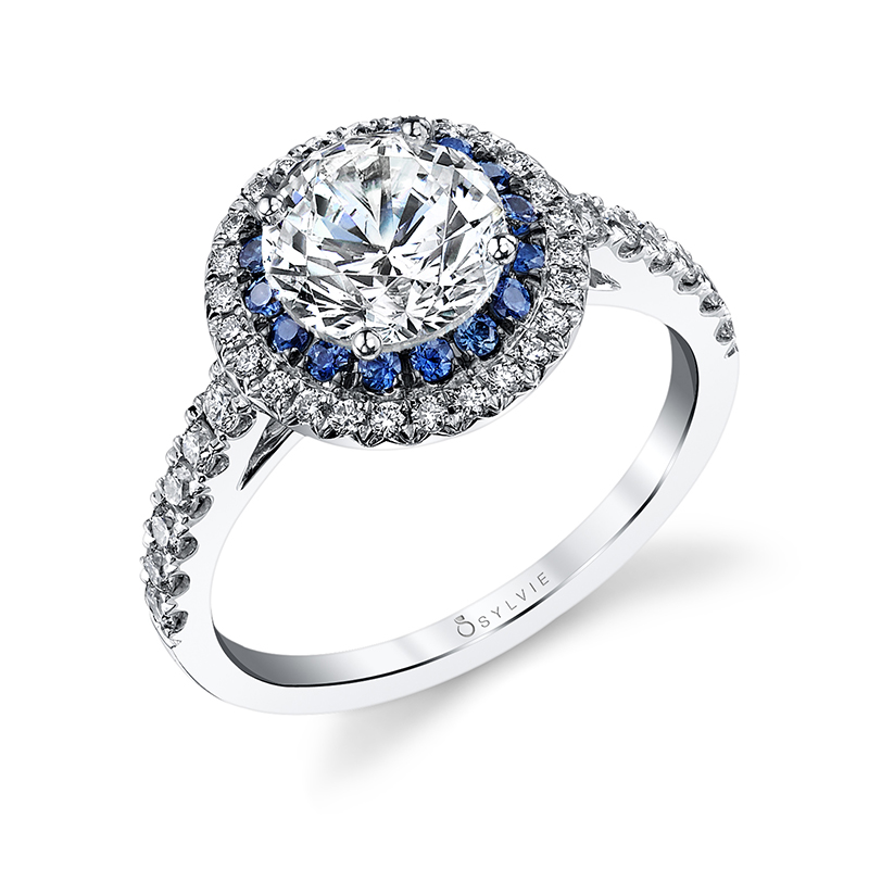 double halo sapphire engagement ring
