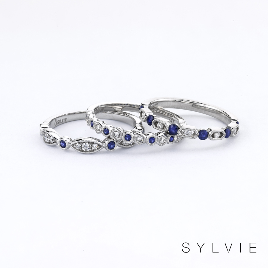 sapphire stackable bands