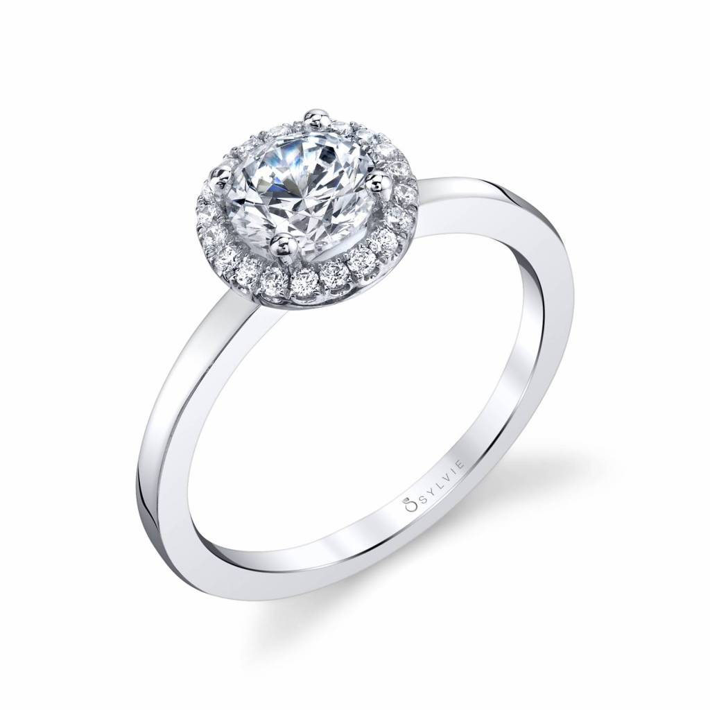 modern halo engagement ring